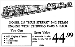 Ad for the Lionel Blue StreakLebanon Daily News?Dec. 6, 1973