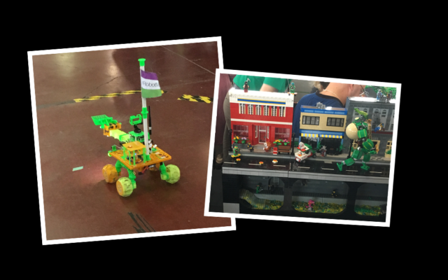 3D printed robots and the ParLUGment's LEGO display at Maker Faire Ottawa.